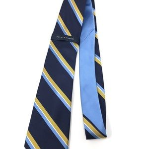 Tommy Hilfiger Navy and Gold Striped Tie-Silk-NWT